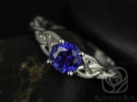 Rosados Box Ready to Ship Cassidy 6mm 14kt White Gold Round Blue Sapphire Celtic Knot Engagement Ring