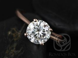 Ready to Ship Skinny Flora 8mm 14kt Rose Gold Forever One Moissanite Dainty Cathedral Round Solitaire Engagement Ring,Rosados Box