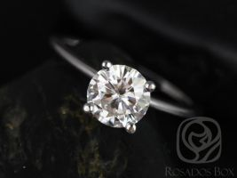 Rosados Box Ready to Ship Skinny Alberta 7mm 14kt White Gold Round F1- Moissanite Tulip Solitaire Engagement Ring