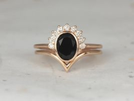Rosados Box Oksana 8x6mm & Willow 14kt Rose Gold Oval Black Onyx and Diamonds Bezel Crescent Sunrays Chevron Wedding Set