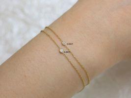 Rosados Box Brooke 1.0 14kt Gold Dainty Solo Floating Diamond Bracelet
