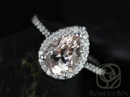 Ready to Ship Tabitha 9x7mm 14kt White Gold Morganite Diamonds Dainty Micro Pave Halo Engagement Ring,Rosados Box