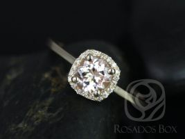 Rosados Box Ready to Ship Bella 6mm 14kt Yellow Gold Morganite and Diamond Cushion Halo Plain Band Engagement Ring