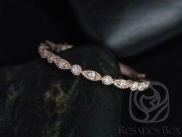 Rosados Box Ready to Ship Ultra Petite Bead & Eye 14kt WHITE Gold Vintage WITH Milgrain Diamond ALMOST Eternity Band