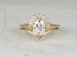 Rosados Box Oksana 8x6mm & Willow 14kt Yellow Gold Oval F1- Moissanite and Diamonds Bezel Crescent Sunrays Chevron Wedding Set