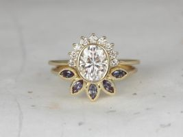 Rosados Box Oksana 8x6mm & Petunia 14kt Yellow Gold Oval F1- Moissanite Diamonds Alexandrite Bezel Crescent Sunrays Wedding Set