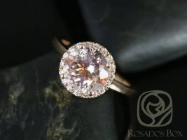 Rosados Box Ready to Ship Monique 8mm 14kt Rose Gold Round Morganite and Diamonds Halo Engagement Ring
