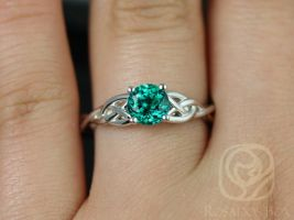 Ready to Ship Cassidy 6mm Round Emerald Celtic Love Knot Triquetra Engagement Ring,14kt Solid White Gold,Rosados Box