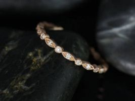 Rosados Box Ready to Ship Ultra Petite Bead & Eye 14kt Rose Gold Vintage WITH Hand Milgrain Beading Diamond FULL Eternity Band