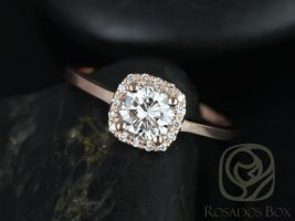 Rosados Box Ready to Ship Bella 6mm 14kt Rose Gold Round F1- Moissanite and Diamonds Cushion Halo Engagement Ring