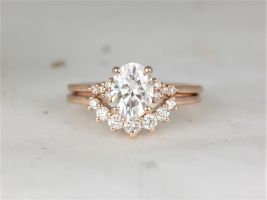 Rosados Box 1.50cts Maddy 8x6mm & Rayna 2.0 14kt Rose Gold Forever One Moissanite Diamond Dainty Art Deco Cluster Oval Wedding Set Rings