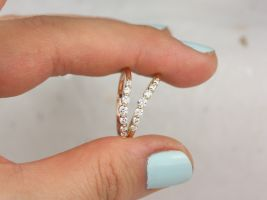Rosados Box Nova 14kt Rose Gold Diamonds Single Prong Minimalist Tiara Crown Nesting Ring