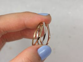 Rosados Box Ultra Petite Everly PLAIN 14kt Solid Gold Flat Top Dainty Stacking Ring