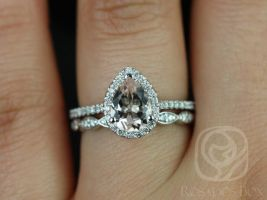 Rosados Box Ready to Ship Tabitha 8x6mm and Christie Band 14kt White Gold Pear Morganite and Diamonds Halo Wedding Set