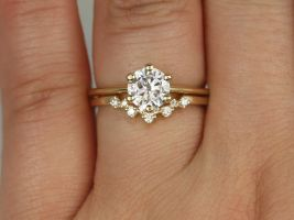 Rosados Box 1ct Skinny Webster 6.5mm & Remy 14kt Gold Forever One Moissanite Diamond Cluster 6 Prong Round Solitaire Wedding Set Rings