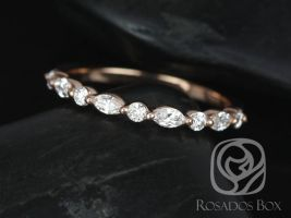 Rosados Box Ready to Ship Petite Cher 14kt Rose Gold Marquise and Round Diamond HALFWAY Eternity Band