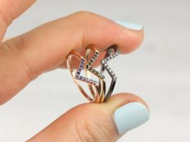 Rosados Box Skinny Venus 14kt Solid Gold V Ring Chevron Sapphire Ring (S.L.A.Y. Collection)