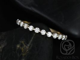 Ready to Ship Petite Naomi/Petite Bubble & Breathe 14kt Yellow Gold Diamond Single Prong Floating HALFWAY Eternity Band,Rosados Box