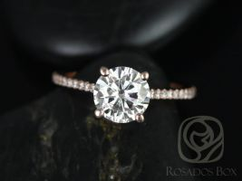 Ready to Ship Eloise 7.5mm 14kt Rose Gold Forever One Moissanite Diamonds Pave Cathedral Round Solitaire Accent Engagement Ring,Rosados Box