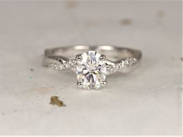 Rosados Box Tilly 8x6mm 14kt White Gold Forever One Moissanite Diamond Dainty Pave Oval Twisted Engagement Ring