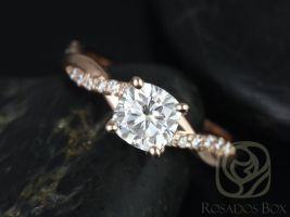 Rosados Box Ready to Ship Tressa 6mm 14kt Rose Gold Cushion F1- Moissanite and Diamond Twist Engagement Ring
