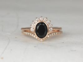 Rosados Box Oksana 8x6mm & Chevy 14kt Rose Gold Oval Black Onyx and Diamonds Bezel Crescent Sunrays Chevron Wedding Set