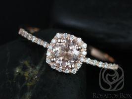 Rosados Box Ready to Ship Barra 5mm 14kt Rose Gold Round Morganite and Diamonds Cushion Halo Engagement Ring