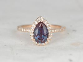 Rosados Box Toni 9x6mm 14kt Gold 9x6mm Pear Alexandrite Diamonds Thin Non-Cathedral Halo Engagement Ring
