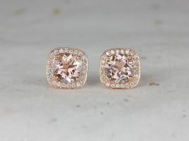 Rosados Box Rheine 14kt Gold Round Morganite Diamonds Cushion Halo WITH Milgrain Stud Earrings