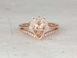 Rosados Box Oana 8x5mm & Chevy 14kt Rose Gold Pear Morganite and Diamonds Bezel Crescent Sunrays Chevron Wedding Set