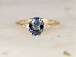 Rosados Box 1.81cts Ready to Ship Petite Emery 14kt Yellow Gold Ocean Blue Teal Sapphire Diamond Pear 3 Stone Oval Engagement Ring
