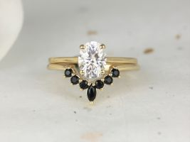 Rosados Box 1.50cts Delia 8x6mm & Marjorie 14kt Solid Gold Forever One Moissanite Diamond Onyx Dainty Oval Solitaire Wedding Set Rings