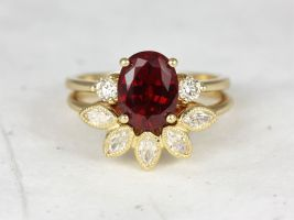 Rosados Box Gloria 9x7mm & Petunia 14kt Yellow Gold Oval Fine Ruby Sapphire Diamonds 3 Stone Wedding Set