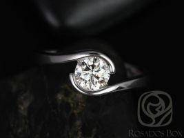 Ready to Ship Rosados Box Vadim 6mm 14kt White Gold Single Twist F1- Moissanite Engagement Ring