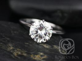 Rosados Box Ready to Ship Skinny Webster 9mm 14kt White Gold F1- Moissanite Six-Prong Webbed Engagement Ring