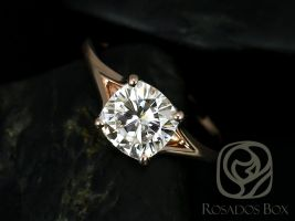 Rosados Box Khaleesi 7.5mm 14kt Rose Gold Cushion F1- Moissanite Split Cathedral Solitaire Engagement Ring