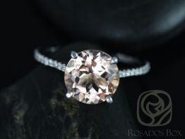 Rosados Box Ready to Ship Eloise 10mm 14kt White Gold Round Morganite and Diamonds Cathedral Engagement Ring