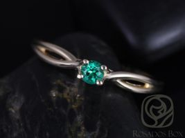 Erika 3.5mm 14kt Yellow Gold Round Rainforest Green Topaz Double Twist Engagement Ring