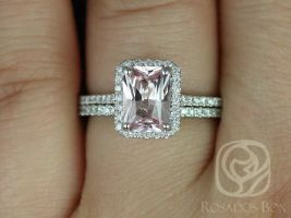Rosados Box Ready to Ship Lisette 1.68cts 14kt White Gold Radiant Peach Blush Sapphire and Diamond Classic Wedding Set