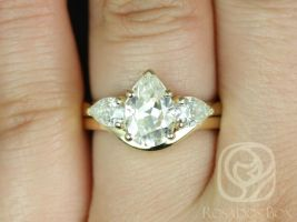 SALE Rosados Box Kasey 10x7mm 14kt Yellow Gold Pear 3 Stone FB Moissanite Wedding Set
