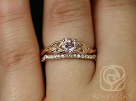 Cassidy 0.99cts 14kt Rose Gold Round Peach Sapphire and Diamonds Celtic Knot Wedding Set