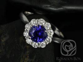 Rosados Box Blossom 6.5mm 14kt White Gold Round Blue Sapphire and Diamonds Flower Halo Engagement Ring
