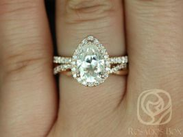 SALE Rosados Box Ready to Ship Toni 10x7mm & Dusty 14kt Rose Gold Pear FB Moissanite and Diamonds Wedding Set