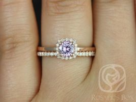 Rosados Box Ready to Ship Bella 0.60cts & Romani 14kt Rose Gold Blush Lavender Purple Sapphire and Diamonds Halo Wedding Set