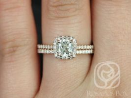 Rosados Box Ready to Ship Conflict Free Catalina 1.02cts 14kt Rose Gold Cushion Diamond Halo Wedding Set