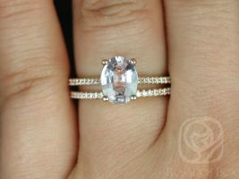 Blake 1.84cts 14kt Rose Gold Oval Icy Peachy Blush Sapphire and Diamond Classic Wedding Set