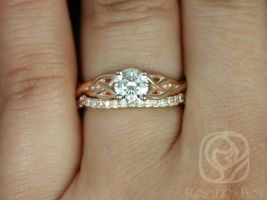 Rosados Box Ready to Ship Conflict Free Cassidy 0.70cts 14kt Rose Gold Round Diamond Celtic Knot Wedding Set