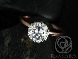 Rosados Box Elaine 8mm 14kt Rose Gold Round F1- Moissanite Six-Prong Skinny Engagement Ring