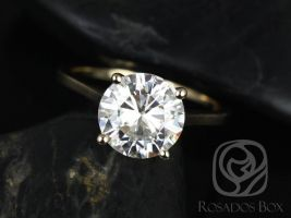 Rosados Box Esther 9mm 14kt Yellow Gold Round F1- Moissanite Classic Thin Skinny Engagement Ring