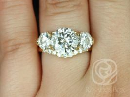 SALE Rosados Box Ready to Ship Carla 9&6mm 14kt Yellow Gold Round FB Moissanite and Diamond 3 Stone Wedding Set
